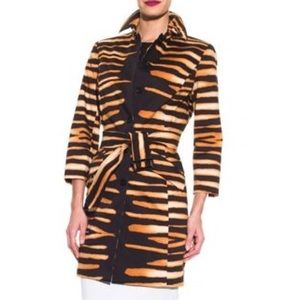 Doncaster Tiger Print Belted Trench Coat, 12